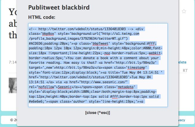 blackbird bookmarklet code