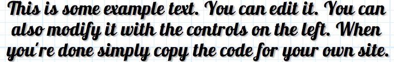 words set in lobster font