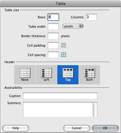 Dreamweaver Table Dialog Window