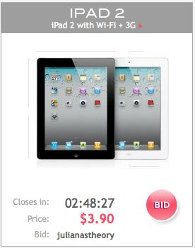 an iPad bid on Lucky Chic