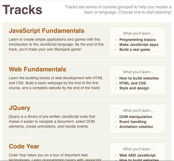code academy tracks