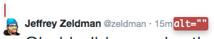 Jeffrey Zeldman's Twitter image receives no alt text