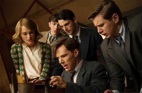 The team of mathematical genius watching the first time they decrypt a message from the Enigma machine