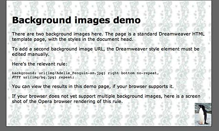 screen shot of background images demo web page