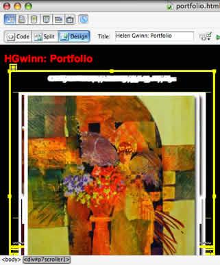 Portfolio in design view in dw 8